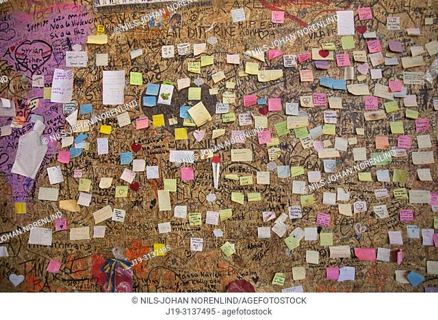 Notes on a wall, terror attack in Stockholm, Sweden