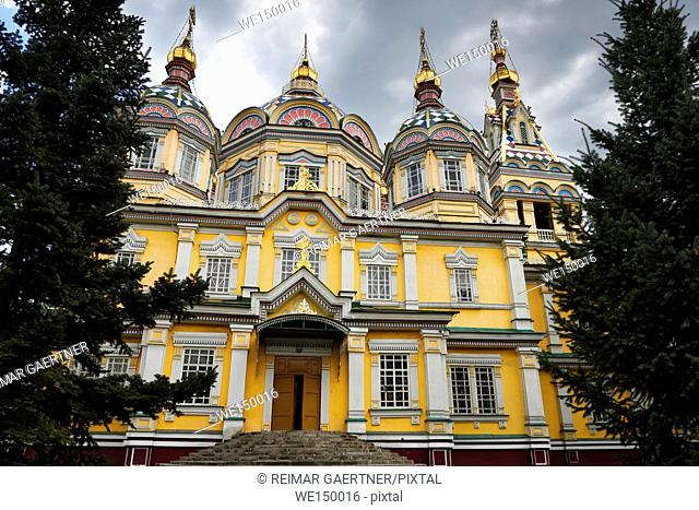 North side Ascension Cathedral Russian Orthodox wood church in Almaty Kazakhstan