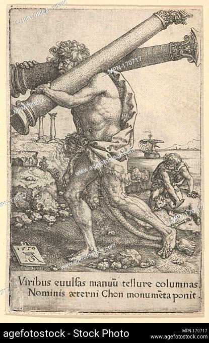 The Pillars of Hercules, from The Labors of Hercules. Artist: Heinrich Aldegrever (German, Paderborn ca. 1502-1555/1561 Soest); Date: 1550; Medium: Engraving;...