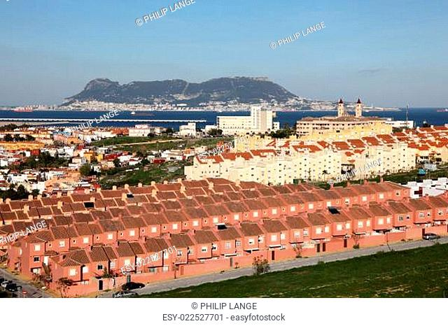 Spanish town Algeciras and Gibraltar in the background