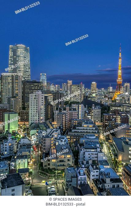 Tokyo cityscape lit up at night, Tokyo, Japan