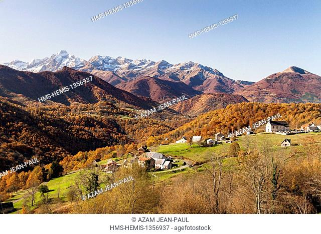 France, Ariege, Cominac, the Garbet valley and the Valier peak, Couserans