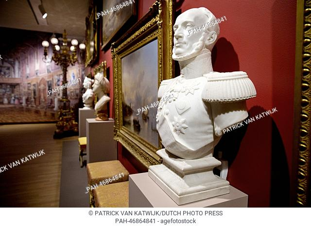 A bust of King Willem II of the Netherlands (R) is on display during the opening of the art exhibition 'Willem II - Art King' at the museum in Dordrecht
