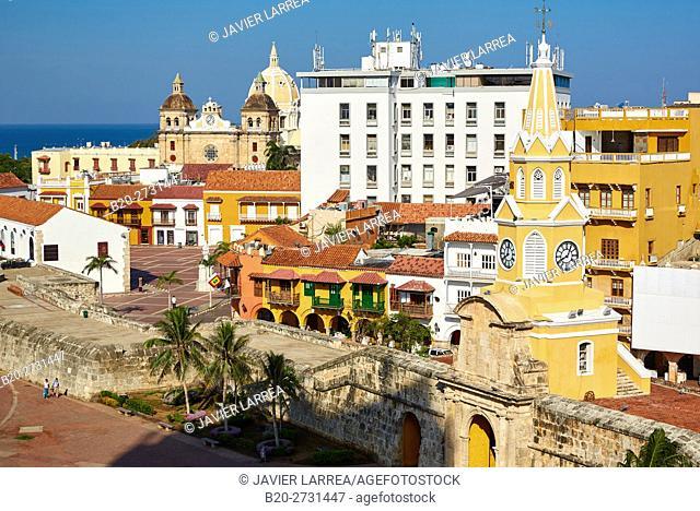 Torre del Reloj, Plaza de Los Coches, San Pedro Claver, Cartagena de Indias, Bolivar, Colombia
