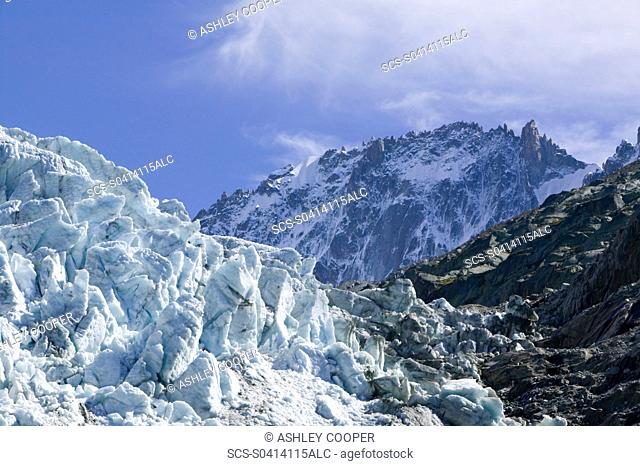 Melting seracs on the snout of the Argentiere Glacier like most Alpine glaciers it is retreating rapidly due to global warming Chamonix France