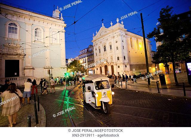 At right Church of Our Lady of the Incarnation from Luís Camoes Square, Igreja Da Nossa Senhora Da Encarnação, Praça Luís de Camões, Lisbon, Portugal, Europe