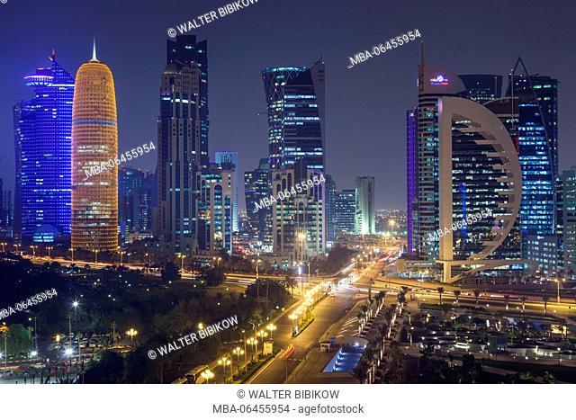 Qatar, Doha, Doha Bay, West Bay Skyscrapers, elevated view, dusk