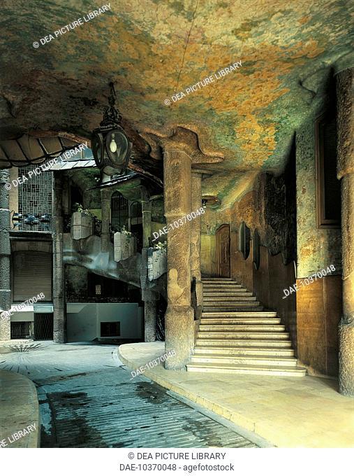 Vestibule and Staircase, Mila House (Casa Mila) known as La Pedrera (UNESCO World Heritage List, 1984), Barcelona, by architect Antoni Gaudi