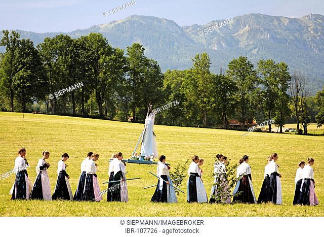Feast of Corpus Christi procession Wackersberg Upper Bavaria Germany