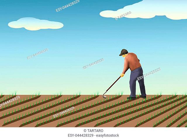 illustration, farmer working in the field