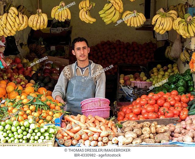 Greengrocery in the Medina, the original Arab part of Essaouira, Morocco