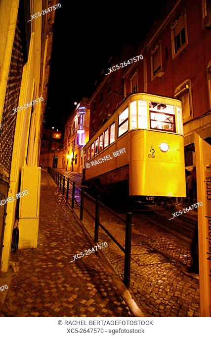 Gloria Funicular that links Baixa with Bairro Alto district, Lisbon, Portugal