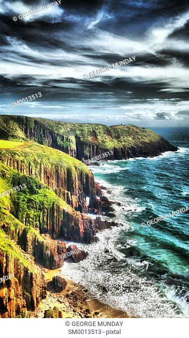 Cliffs on the Pembrokeshire Coastal walk near Manorbier,. Pembrokeshire, West Wales, United Kingdom