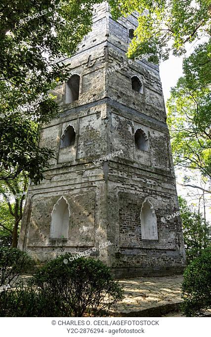 Wenzhou, Zhejiang, China. Jiangxin Island. East Pagoda, rebuilt 1141