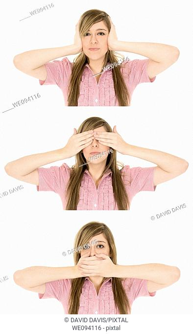 Caucasian teenager displaying some attitude with the Hear No Evil, See No Evil, Speak No Evil hand gestures