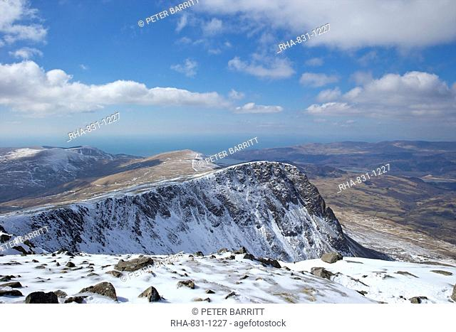 View from summit of Cader Idris in winter looking to Barmouth, Snowdonia National Park, Gwynedd, Wales, United Kingdom, Europe