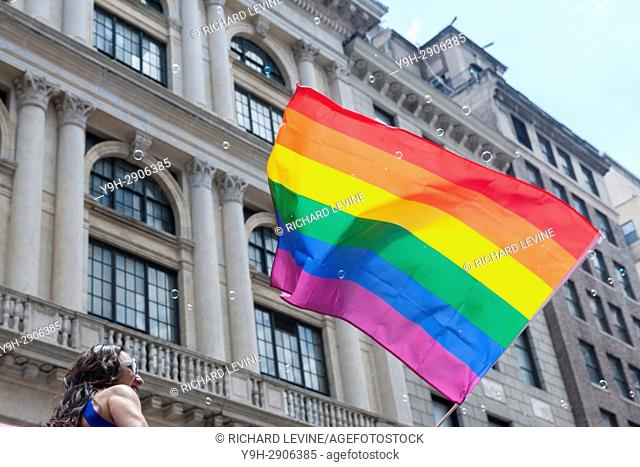 Thousands of marchers and spectators turn out for the annual Lesbian, Gay, Bisexual, Transgender and Queer (LGBTQ) Pride Parade on Fifth Avenue in New York on...