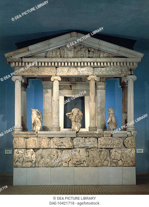 Greek civilization, 5th century b.C. Partial reconstruction of the Monument of the Nereids of Xanthos in Lycia, circa 390-380 b.C