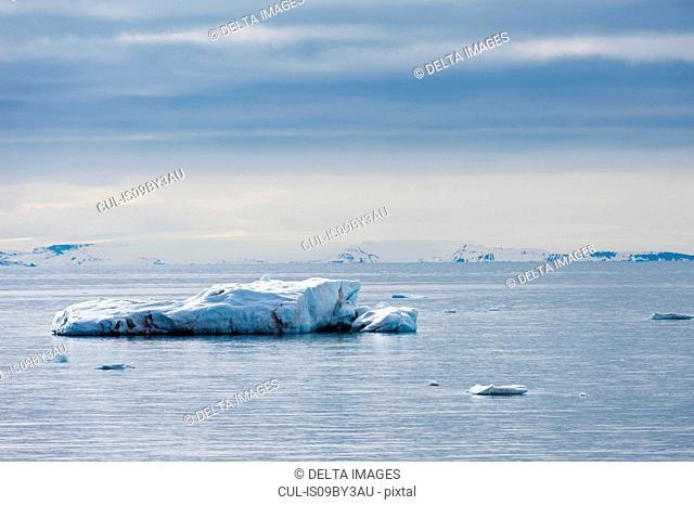 Iceberg near coastline, Vibebukta, Austfonna, Nordaustlandet, Svalbard, Norway
