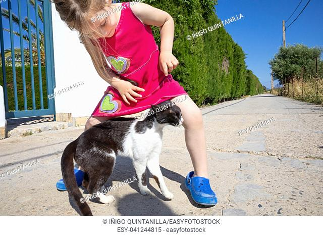 white and black cat caressing little girl leg on the street, five years old child with pink dress, in Summertime