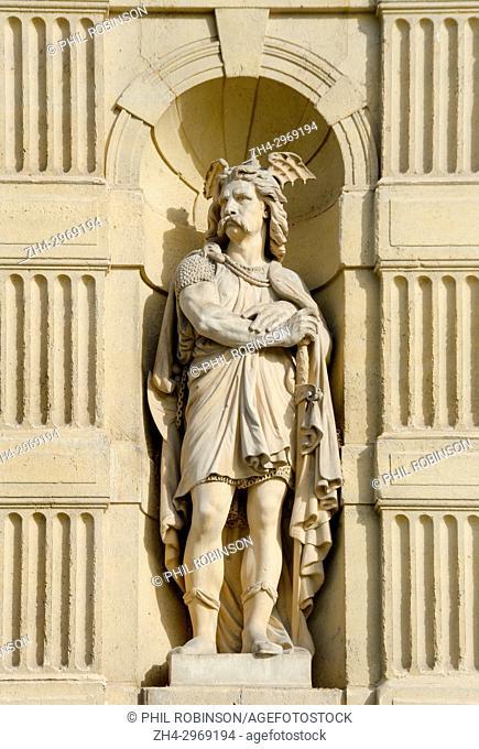 Paris, France. Palais du Louvre. Statue: Frankish Warrior / Guerrier Franc (1866; Pierre Alfred Robinet) in the Cour du Carrousel