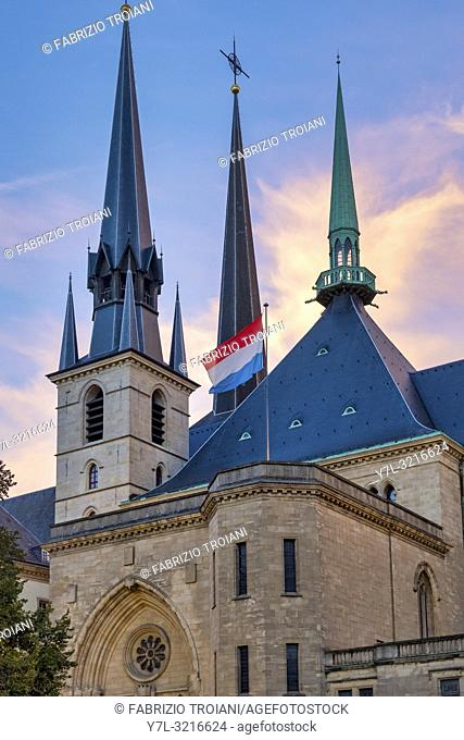 Facade of the Cathedral of Notre-Dame, Luxembourg, Luxembourg City