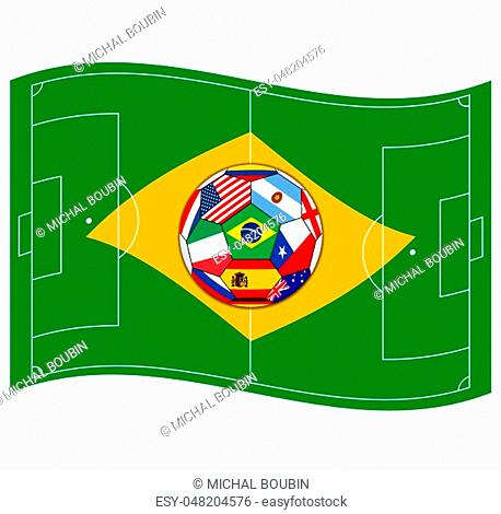 Vector illustration of the football field looks like Brazil flag with ball
