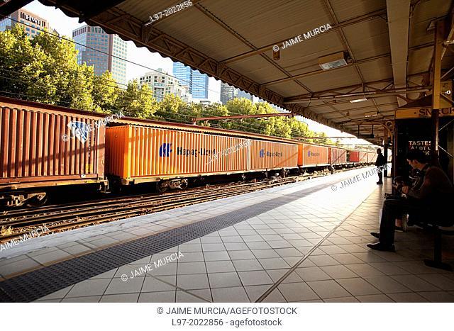 Freight train at Flinders st station Melbourne