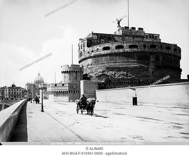 The Castel Sant'Angelo in Rome with view of Saint Peter's dome in the background (123-139), shot 1900-1910 ca. by Brogi