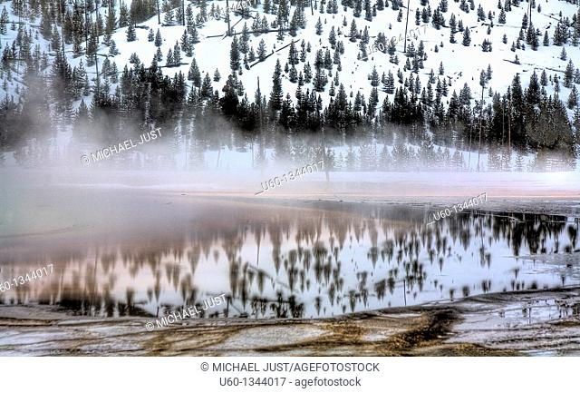 The nearby landscape is reflected on Grand prismatic Spring's runoff during winter at Yellowstone National Park, Wyoming
