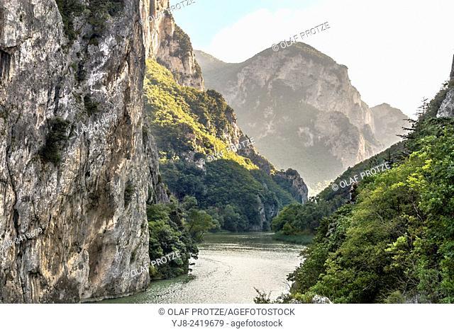 View over the Furlo Gorge in Acqualagna, Marche, Italy