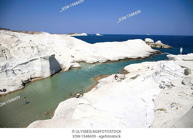 withe rocks in sarakiniko, milos island, cyclades islands, greece, europe