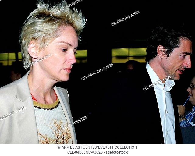 Actress Sharon Stone and guest arrives for a special screening of his new film FAHRENHEIT 9/11 at the Music Hall ,June 8, 2004 in Beverly Hills, CA