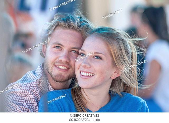 Portrait of young tourist couple on boat trip, Cape Town, South Africa