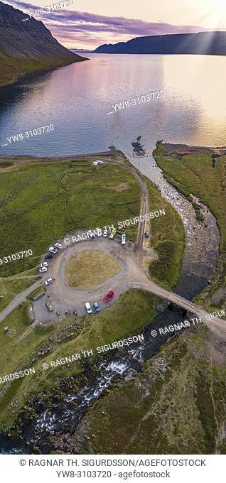 Parking lot and landscape by Dynjandi Waterfall, West Fjords, Iceland