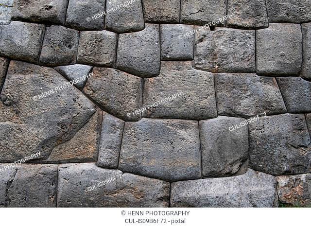 Stonewall at Sacsayhuaman, an ancient site of the Inca's above Cusco, Cusco, Peru, South America