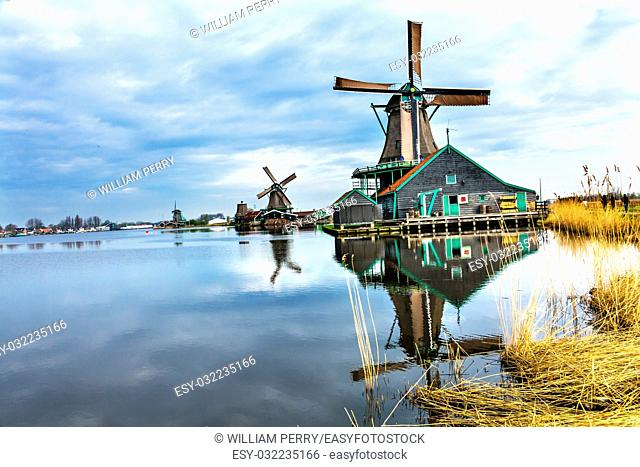 Wooden Windmills Zaanse Schans Old Windmill Village Countryside Holland Netherlands. Working windmills from the 16th to 18th century on the River Zaan