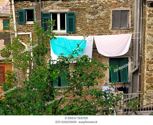 in the winding streets of riomaggiore,liguria,italy