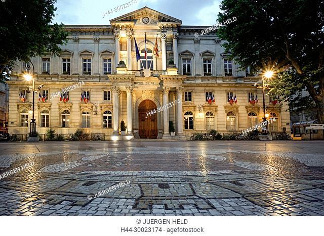 Hotel de Ville, Cobble Stone Mosaic, Avignon, Bouche du Rhone, France France, Provence, Avignon