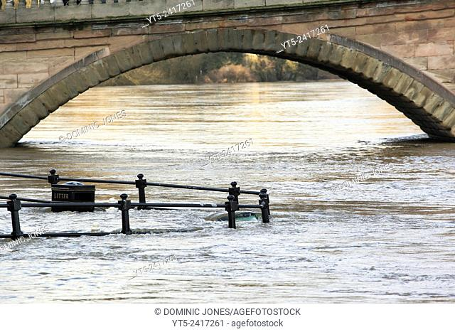 The River Severn floods at Bewdley, 2012, Worcestershire, England, Europe
