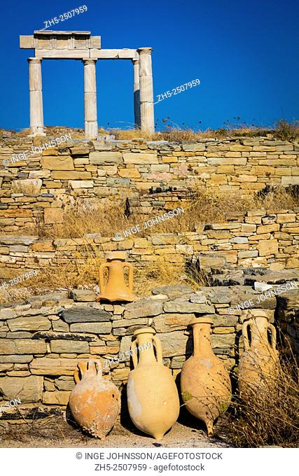 The island of Delos, near Mykonos, near the centre of the Cyclades archipelago, is one of the most important mythological