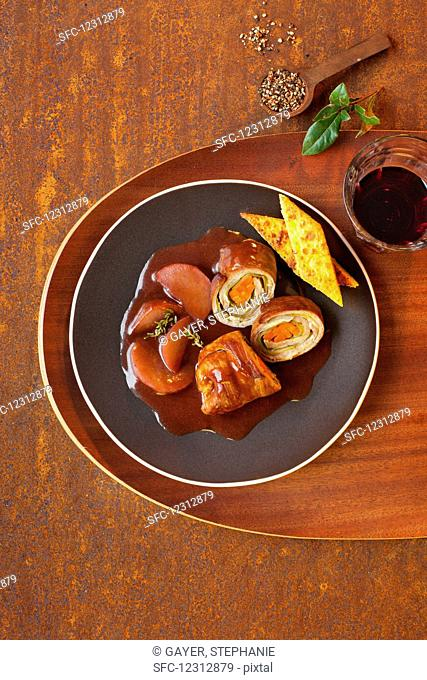 Beef roulade in a red wine gravy with polenta