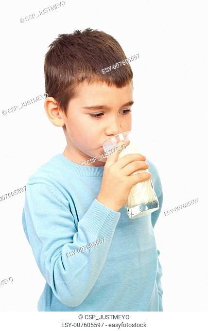 Child boy drinking milk
