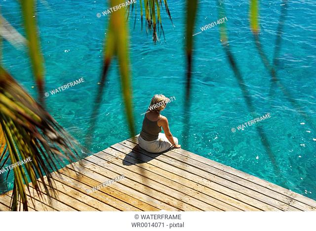 Woman at Jetty, Caribbean Sea, Netherland Antilles, Curacao
