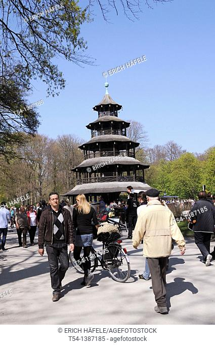 Pedestrians at the Chinese Tower in a Spring Sunday, Munich