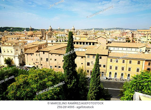 The roofs of Rome, seen from the rooftop of the Capitoline Museum. Rome, Lazio, Italy, Europe