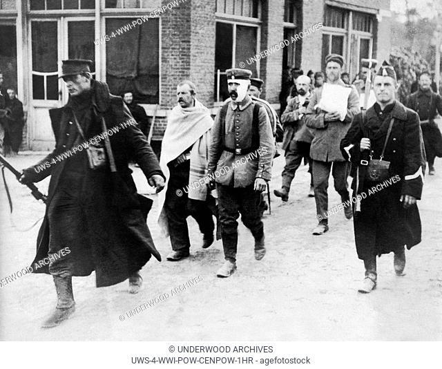 Europe: c. 1915 Captured Germans after a battle during WWI