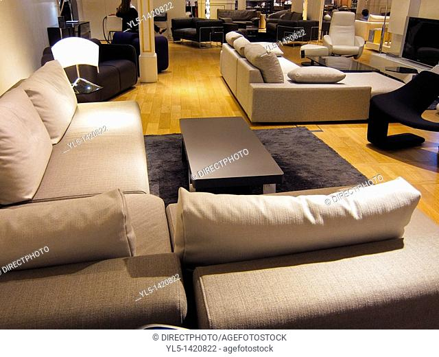 Living Room Furniture Department on Display in French Department Store, Le Bon Marché, Couches