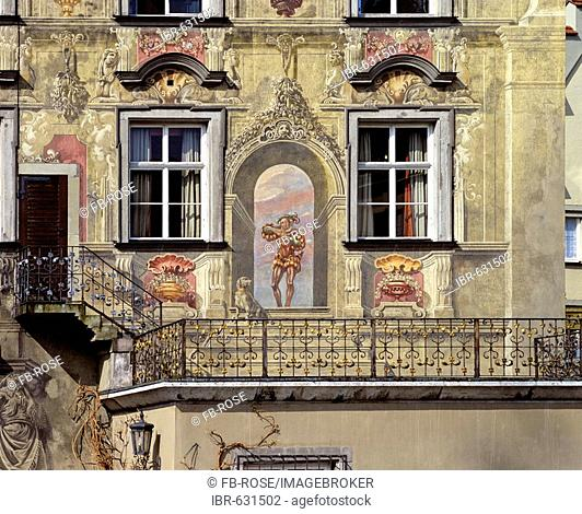 Haus zum Cavazzen, city museum with painted facade, Lindau am Bodensee, Swabia, Bavaria, Germany, Europe