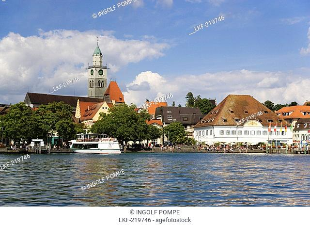 View over lake Constance to Uberlingen with Saint Nicholas church, Baden-Wurttemberg, Germany